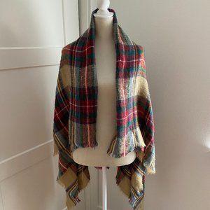 Zara Plaid Scarf Frayed Ends Square Blanket